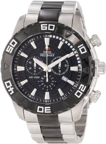 Swiss Precimax Men's SP12056 Valor Elite Black Dial with Silver Stainless-Steel Band Watch