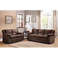 Kings Brand Furniture Chocolate Microfiber Sofa & Loveseat Living Room Set