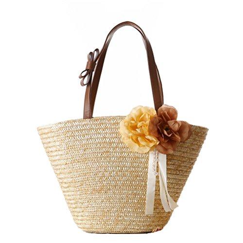 (Donalworld Women Straw Shoulder Bag Double Handle BowKnot Flower Beach Bag Beige)