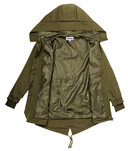 iLoveSIA Women's Military Trench rain Jacket with Hood Jacket Arm Green US 12 by iLoveSIA (Image #3)