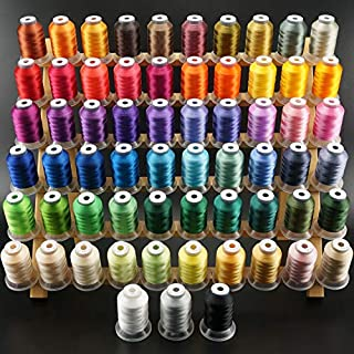 New brothread 63 Brother Colors Polyester Embroidery Machine Thread Kit 500M (550Y) Each Spool for Brother Babylock Janome Singer Pfaff Husqvarna Bernina Embroidery and Sewing Machines