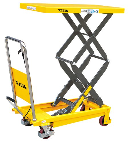 XILIN-XSPS350-Hydraulic-Double-Scissor-Lift-Table-Truck-770-lb-Capacity-20-Height-Yellow