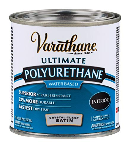 (Rust-Oleum Varathane 200261H 1/2-Pint Interior Crystal Clear Polyurethane, Water-Based Satin Finish)