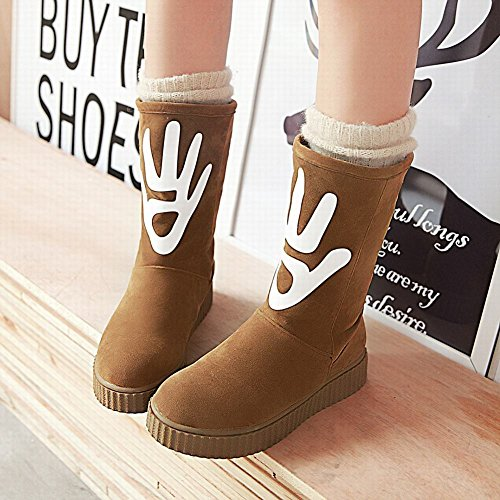 Latasa Womens Faux Suede Flats Mid Calf Winter Snow Boots Brownish Yellow aOb6a7D4RH