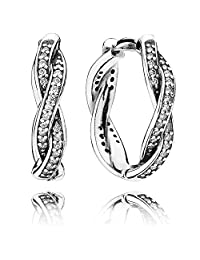 PANDORA Earrings Twist of Fate with Clear CZ 290576CZ