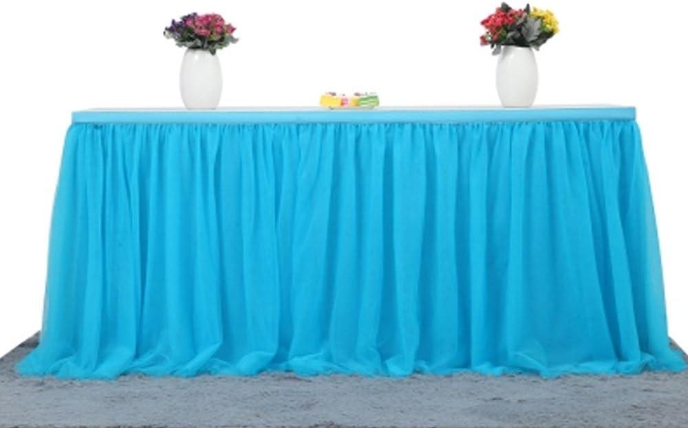 BEST OF BEST 3 14 pies de Tul Falda de Mesa Tabla de Faldas a Prueba de Arrugas para la Banquete Boda cumplea/ños Baby Shower Navidad decoraci/ón para el hogar Blue