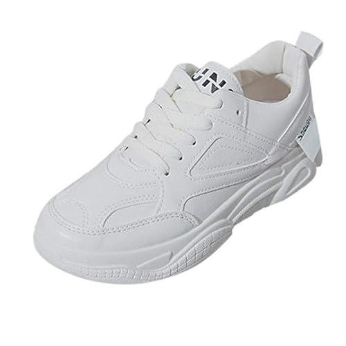 Zapatillas Deportivas de Mujer Running Sneakers Respirable Zapatos,Mujeres Señoras Moda Encaje hasta Ronda Toe Cuñas Casual Loafer Sneaker Zapatos Blancos: ...