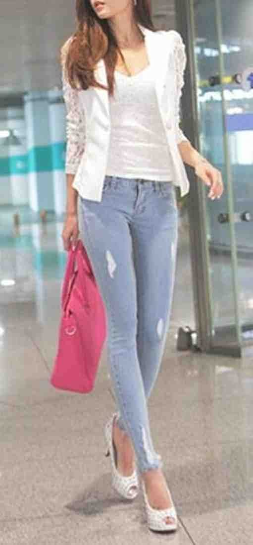 c0fc688c3563 Zago Women Summer Lace Long Sleeve One Button Short Blazer Jacket White XS  at Amazon Women s Clothing store