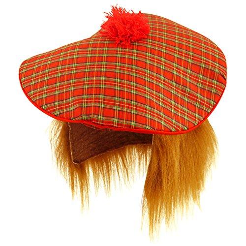 (Star Products Star55 Scottish Scots Tartan Tam Hat & Ginger Hair Wig Stag Night Fancy Dress)