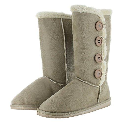 Dealstock Womens Fur Boots Faux Winter Suede Snow Calf Warm Fashion Sheepskin Shoes Beige 8vqCljcDs
