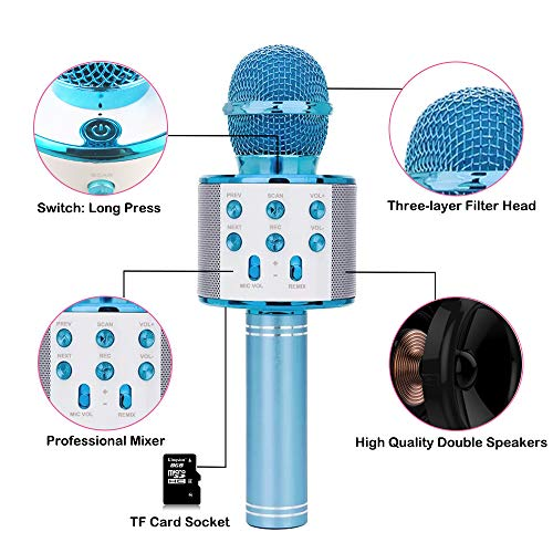 Gift for 6-10 Year Old Girl, Wireless Bluetooth Microphone for Kids Girls Party Toy for 4-7 Year Old Girl Boys Karaoke Microphone Toy Age 6 7 8 Girls Birthday Gift for Girl Blue Mic by Moff (Image #2)