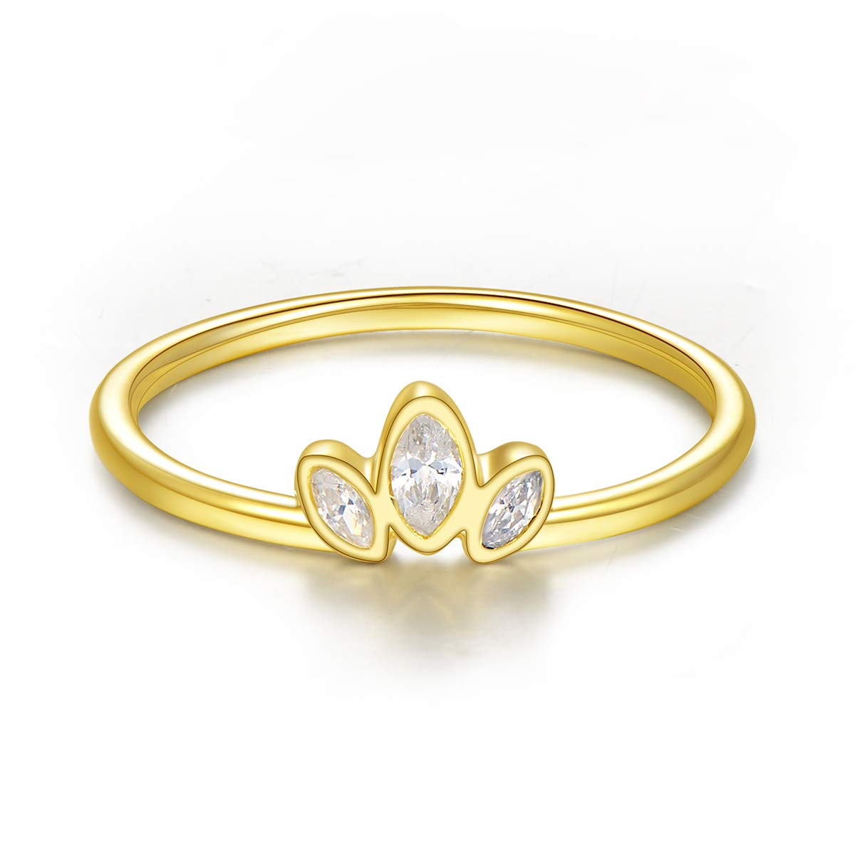 14k Gold Plated Sterling Silver Dainty Minimalist Ring Wedding Band for Women CherLove Engagement Stackable Ring