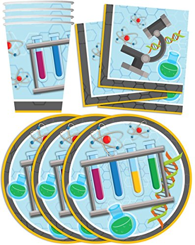 Super Science Birthday Party Supplies Set Plates Napkins Cups Tableware Kit for 16