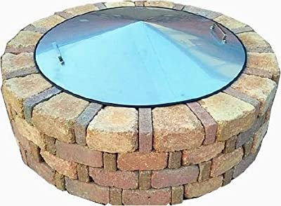 """39"""" Round Stainless Steel Metal Fire Pit Cover Top Lid"""