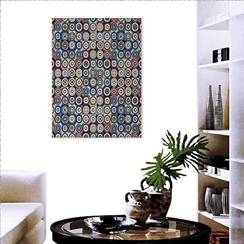Anniutwo Geometric Canvas Print Window Wall Art Modern Ring Formed Round Spiral Vortex Circles in Many Tones Work of Art Wall Mirror Sticker 20