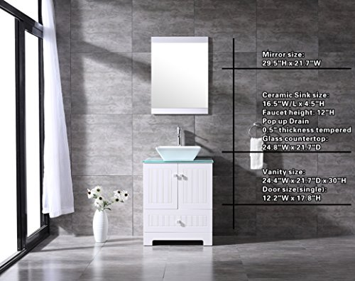 24' Bathroom Sink Basin (Bestmart INC 24'' Bathroom Vanity Cabinet Ceramic Vessel Sink Basin Faucet Mirror and Free Drain)
