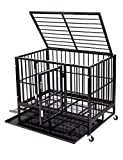 "Cheap 36"" Heavy Duty Dog Crate, Medium Metal Strong Dog Kennel Cage with Tray and Wheels"