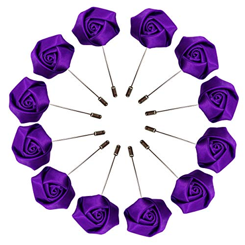 Sanrich Rose Boutonniere Men's Lapel Pins Satin Flower 12 Pack Groom Wedding Boutonniere Suit Brooch Outfit Accessories - Purple Boutonniere