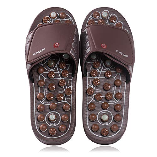 BYRIVER Therapeutic Acupuncture Massage Flip Flops Slippers Foot Relaxation Tools Leg Calf Plantar Fasciitis Massager (M)
