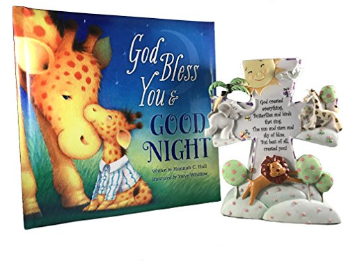 Baby Gift Set, Christening, Baptism, Baby Shower Gift - Includes God Created Everything Night Light and God Bless You and Good Night Book
