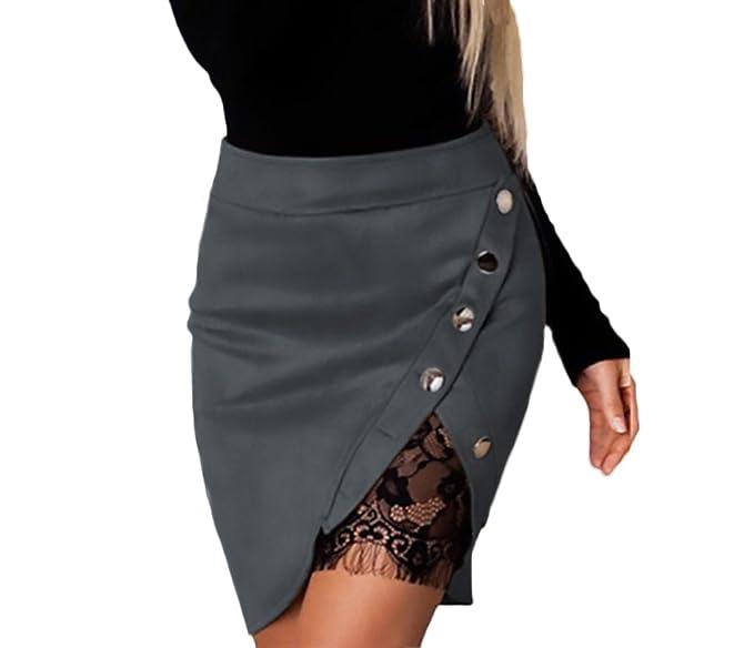 2d3115d3b Faldas Mujer Elegantes Encaje Splicing Con Botones Irregular Faldas ...