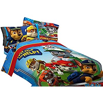 Amazon.com: Nickelodeon Paw Patrol 5pc Full Comforter and Sheet Set Bedding Collection: Home