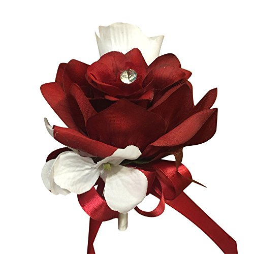Pin Corsage- Apple Red Open Rose with Hydrangea- Pin Included