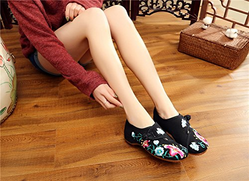 Morning Shoes Fanwer Embroidered Walking Cloth Deep Glory Dancing Womens Black Flats Square National Casual C55qgwZRn