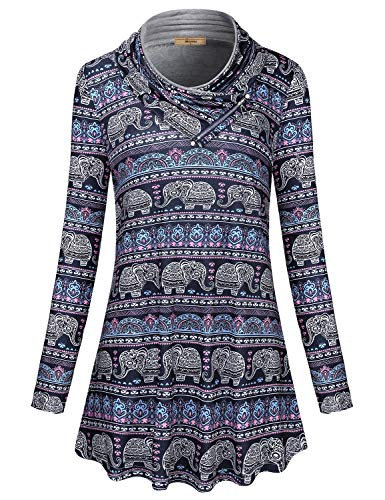 Elephant Long Sleeve Shirt - Miusey Long Tunic Tops for Women,Juniors Zipper Trimed Cowl Neck Pleats Long Sleeve Slimming Tunics Tapered Hemline Cute Elephant Sweatshirt Ethnic Baroque Clothes Blue L