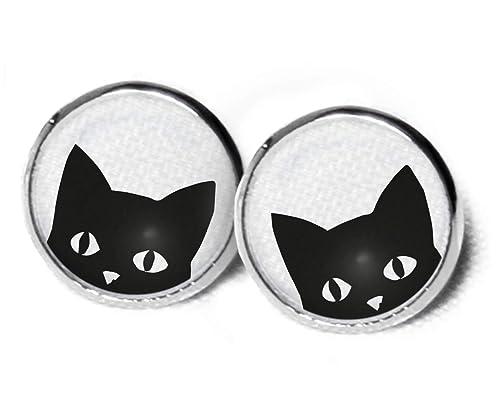 Pendientes Gato - Gatos pendientes - dulce pendientes - pendientes negro - Gatos pendientes - 12 mm - Gato Regalo - Gatos sc283: Amazon.es: Joyería