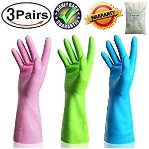 Kitchen Rubber Cleaning Gloves Dishwashing Clean Latex Glove Reusable with Household Powder Free (3 Pairs Large)