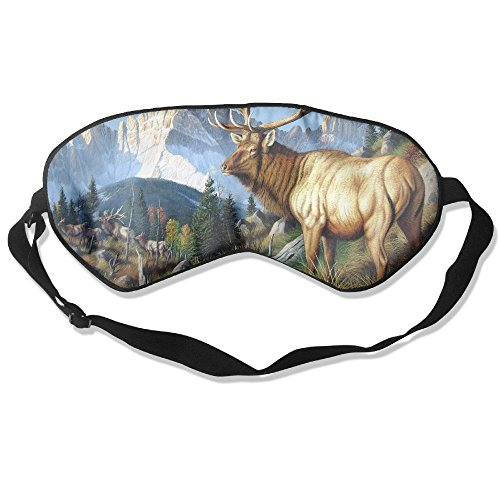 Goods Shops Mulberry Silk Sleeping Masks Wild Deer with Long Horn Eyepatch Eye Masks Adjustable Sleeping Eye Shade ()