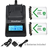 Kastar Fast Charger and Battery (2-Pack) for Sony NP-BX1, M8 and Cyber-shot DSC-HX50V, HX300, RX1, RX1R, RX100, RX100M, RX100M3, WX300, HDR-AS10, AS15, AS30V, AS100V, AS100VR, CX240, MV1, PJ275 Camera