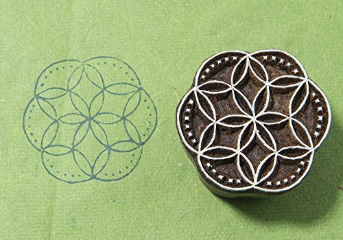 Blockwallah Circle Flower 254 Wooden Block Stamp