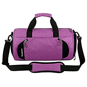 Gym Sports Small Duffel Bag for Men and Women with Shoes Compartment - Mouteenoo (X-Small, Pink Purple)