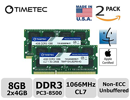 Timetec Hynix IC Apple 8GB Kit (2x4GB) DDR3 PC3-8500 1066MHz memory upgrade for iMac 21.5 inch/27 inch/20 inch/24 inch, MacBook Pro 13 inch/ 15 inch/ 17 inch, Mac mini 2009 2010 (8GB Kit (Mac Pro Memory)