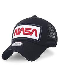 495a24fe00863 ililily NASA Worm Logo Bordado Béisbol Gorra Malla Snap Espalda Camionero  Sombrero Gorra