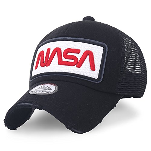 - ililily NASA Worm Logo Embroidery Baseball Cap Mesh Snap Back Trucker Hat (Medium, Black)