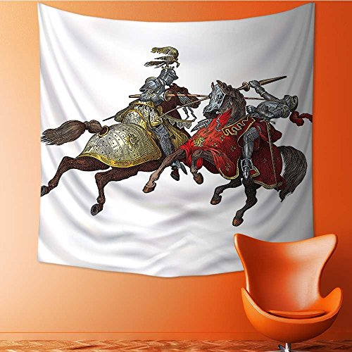 L-QN Decor Tapestry Wall Hanging by Middle Age Fighters Knights with Costume Renaissance Period Home Decoration Wall Tapestry Hanging 70W x 70L Inch -