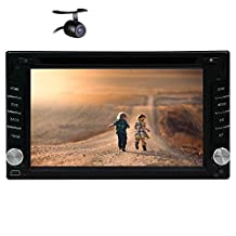 Double Din Universal Car Headunit Deck Stereo Autoradio 6.2-inch GPS Navigation Audio Bluetooth CD DVD MP3 SD USB Subwoofer Output Radio FM AM Steering Wheel Control Rearview Camera