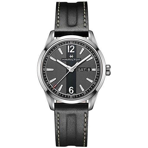 Mens-Hamilton-Broadway-Day-Date-Quartz-Leather-Watch-H43311735