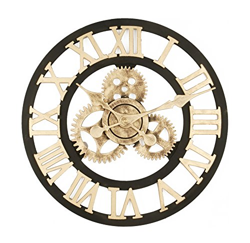 Upuptop Handmade Vintage Industrial 3D Gear Style Quiet Round Wooden Wall Clock Roman Numerals Design 16inch Gold Review