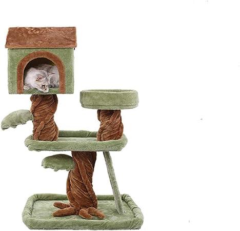 JIY-Árboles para gatos Múltiples Capas Gato Escalada Marco Verde Franela Tronco Franela Gato Arena sisal Madera Maciza Gato Saltando Gato Villa (Color : B): Amazon.es: Hogar