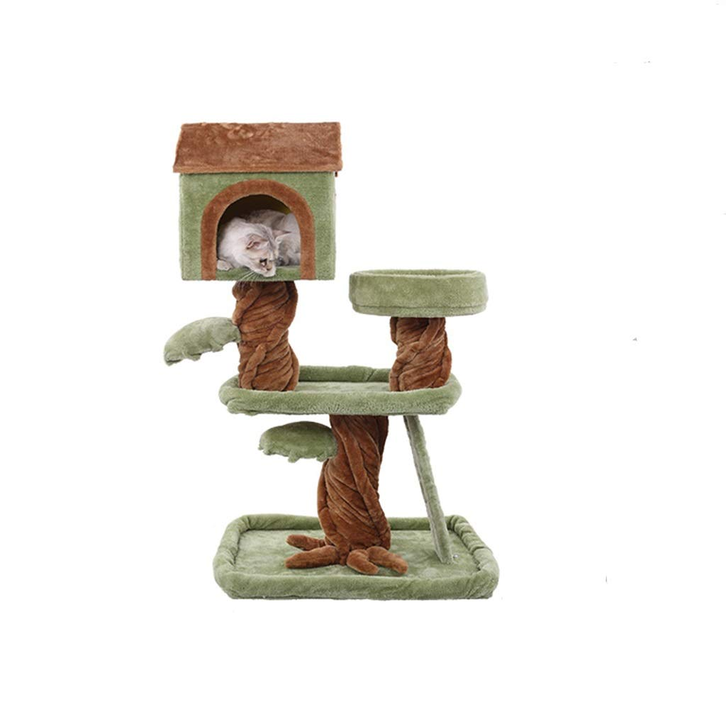 B JIY-Play Towers & Trees Multi-layer cat climbing frame green flannel trunk flannel cat litter sisal solid wood cat jumping cat villa (color   B)