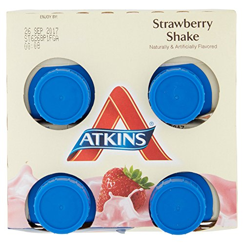 Atkins Ready To Drink Shake, Strawberry, 11 Ounce, 4 Count (Pack of 2)
