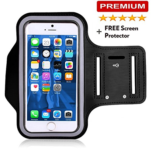 IPhone 6S Armband, IPhone 6 Armband, Water Resistant Sports Armband with Key Holder by SLBstores for iPhone 6 6S (4.7-Inch), Galaxy S3/S4, IPhone se, 5/5C/5S, Bundle with Screen Protector (S2 Sports Armband)