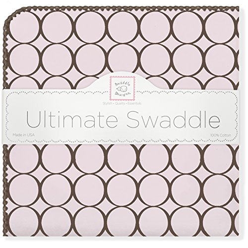 SwaddleDesigns Ultimate Swaddle Blanket, Made in USA, Premium Cotton Flannel, Brown Mod Circles on Pastel Pink