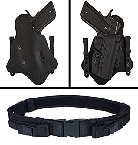 Comp-Tac Spartan Sig P320/250 Compact 9mm/.40 Right Hand Inside the Waistband Leather and Kydex Holster + Ultimate Arms Gear Pistol Mag Pouch Web Duty - Mag 250 Tabs