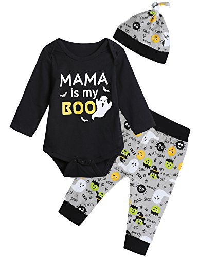 Baby Boys' Mama is My Boo Outfit Set Halloween Ghost Costume Romper Cartoon Pants with Hat (0-3 Months) Black -