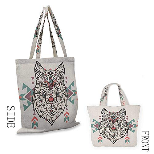 """portable shopping bag TribalCharming Lion Like Wolf Head with Paisley Ethnic Design Ornaments Print Pearl Coral and Teal18""""W x 16""""H"""